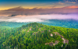 Low clouds over the Appalachian Mountains at sunrise, seen from Royalty Free Stock Images