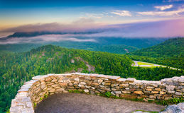 Low clouds over the Appalachian Mountains at sunrise, seen from Royalty Free Stock Photo