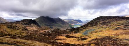 Across Haystacks to cloud covered Buttermere Fells. Low clouds over the Buttermere Fells Stock Photography