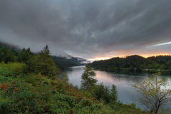 Low Clouds Over Columbia River at Sunset in Oregon Stock Images
