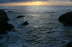 Low Clouds at Sunset, Point Lobos Stock Photo