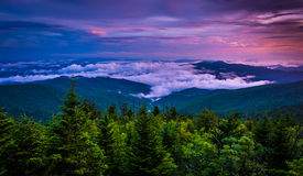 Low clouds in the valley at sunset, seen from Clingman's Dome, G Royalty Free Stock Image