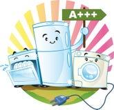 Low-consumption appliances. Energy saving appliances happy, consume little electricity Stock Images