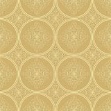 Low contrasting beige seamless background tile with filigree ornament. Vintage fabric style in damask design. Stock Photo