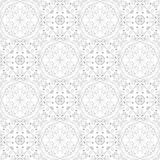 Low contrasting vintage ornament, gray drawing on white background. Repeating filigree geometric patterns in victorian style. Stock Photos