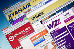Low-cost airline web sites. Royalty Free Stock Images