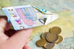 Low cost airlines with plane and euro money concept Stock Photo