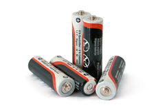 Low-cost batteries. Five low-cost batteries on white background royalty free stock image
