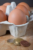 Low cost food. Egges and money Royalty Free Stock Photos