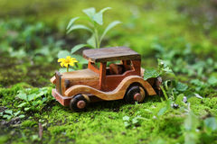 Low cost green car. View of a small low cost green car stock image