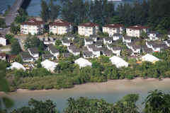 Low cost housing. In Victoria, Mahe, Seychelles stock image