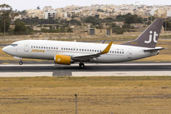 Low-cost Jettime 737 on take off. Luqa, Malta 28 May 2016: Jet Time Boeing 737-33A [OY-JTA] departing runway 13 to Billund royalty free stock image