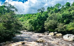 Low course of Sumapaz river passing through Pandi C royalty free stock images