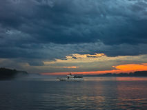 Low and dark clouds over Danube river before a storm in Belgrade Royalty Free Stock Photography