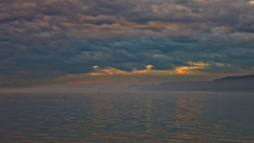 Low and dark clouds over Danube river before a storm in Belgrade Stock Photography