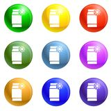 Low density polyethylene icons set vector. Low density polyethylene icons vector 9 color set isolated on white background for any web design vector illustration