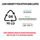 Low Density Polyethylene. Plastic marking. Application, melting temperature, suitable  . International Earth Day. Low Density Polyethylene. Plastic marking Royalty Free Stock Photo