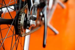 Low-down Shot of Bicycle Wheels and gearwheel Royalty Free Stock Photography