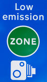 Low emission zone signal in London. Close up detail of a signal indicating the limit of low emission traffic zone in London, United Kingdom, with camera tutor Royalty Free Stock Image