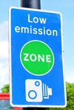 Low emission zone. Signpost in London Stock Photo