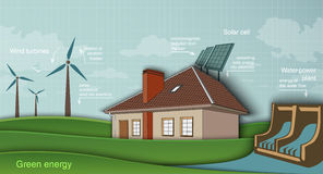 Low-energy house with solar panel and wind turbine. Low energy house with solar panel and wind turbine hydroelectric plant. green energy concept Royalty Free Stock Photo