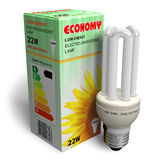 Low-energy lamp with package Royalty Free Stock Images