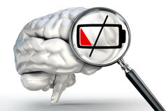 Low energy level on magnifying glass and human brain Royalty Free Stock Image