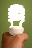 Low Energy Light Bulb. Hand Holding New Low Enegry Light Bulb stock image
