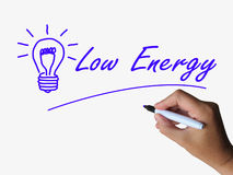 Low Energy and Lightbulb Indicate Less Power or Royalty Free Stock Image