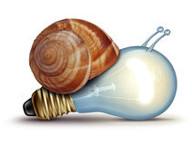 Low Energy. And slow creative concept as a light bulb or lightbulb with a snail shell as an innovation crisis metaphor for creativity issues facing new ideas to Royalty Free Stock Images