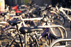 Parked Bicycles Royalty Free Stock Photography