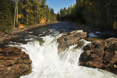 Low falls on fast northern river Royalty Free Stock Image