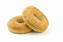 Low fat bagels. Body conscious low fat whole grain wheat bagels isolated on white background with copy space, in horizontal format Stock Image