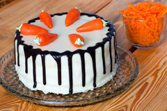 Low fat carrot cake. With chopped carrot Royalty Free Stock Photos