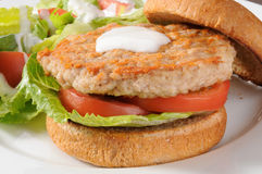 Low fat chicken or turkey bugger. Closeup of a low fat healthy chicken or turkey burger with a salad Royalty Free Stock Image