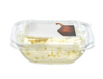 Low fat cottage cheese in single use plastic bowl with text spac Stock Image