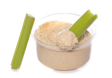 Low fat food hummus and celery Stock Photos