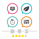 Low fat icons. Diets and vegetarian food signs. Stock Image