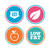 Low fat icons. Diets and vegetarian food signs. Royalty Free Stock Photo