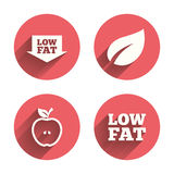 Low fat icons. Diets and vegetarian food signs Royalty Free Stock Photo
