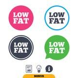 Low fat sign icon. Salt, sugar food symbol. Stock Images