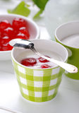 Low-fat yogurt with cherries Royalty Free Stock Images