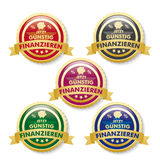 Low Financing 5 Golden Buttons Royalty Free Stock Image