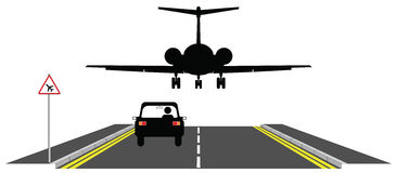 Low flying. Aircraft over road warning sign Stock Illustration