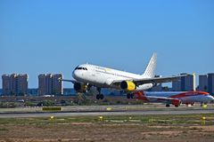 Low Flying Aircraft At Alicante Airport Vueling Airlines Royalty Free Stock Image