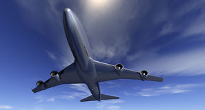 Low Flying Airliner Royalty Free Stock Photography