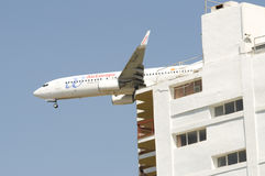 Low Flying Boeing 737. Landing in Ibiza Airport Stock Photography