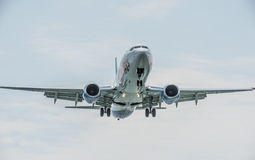Low flying Jet. Jet taken on final approach into Corfu Airport Stock Photography