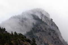 Low fog blowing off the top of a rocky ledge, Fraser Canyon Royalty Free Stock Photos