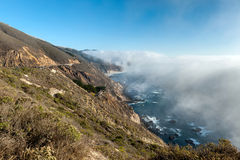 Low fog on the coast of the Pacific ocean, Highway 1, California Royalty Free Stock Images